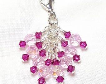 Stunning Pink Fuchsia Crystal Zipper Pull Pendant