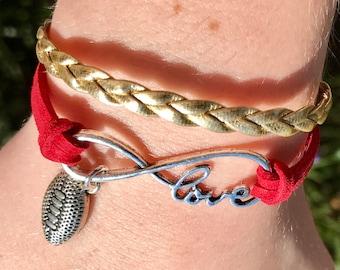 Infinity Bracelet, Seminoles Bracelet, FSU Bracelet, Florida State Bracelet, Infinity Bracelet, Boho Bracelet, Football Bracelet, Wrapped