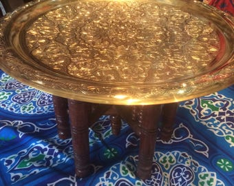 Handcrafted Moroccan Brass Tray Table