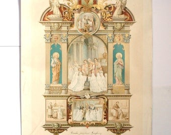1900's antique French certificate Catholic christening and communion - souvenir pious religious image-sacrament chromolithograph print