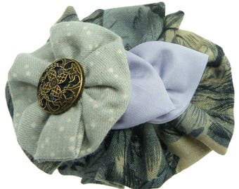 Clip barrette hair clip type thin round light gray polka dot leaves round and pastel purple