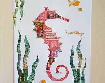 Postage Stamp Collage - Red Seahorse