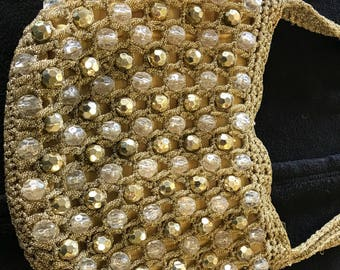 Gold Beaded Walborg Purse Made in Italy