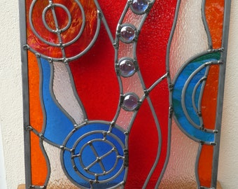 Stunning Stained Glass Window, Sun Catcher, Panel