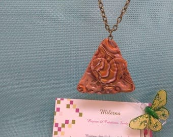 §37§ pendant in polymer clay mounted on a chain bronze, triangle and heart