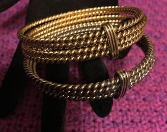 Vintage Gold and Silver Bangle Bracelets