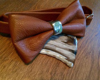 Leather Bowtie, with a Sterling Silver knot and Crushed Turquoise inlay