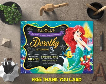 Little Mermaid Birthday Invitation, Little Mermaid Invitation, Little Mermaid Invites, Little Mermaid Printables, FREE 4x6 Thank You Card