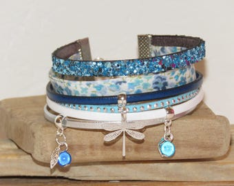"""""""Dragonfly fly"""" Cuff Bracelet with sequins, Turquoise Blue Suede, leather, blue."""