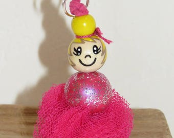 "Key holder bag charm - tiny dancer Tutu - with wooden beads ""smile ball"" figurine entirely hand painted"
