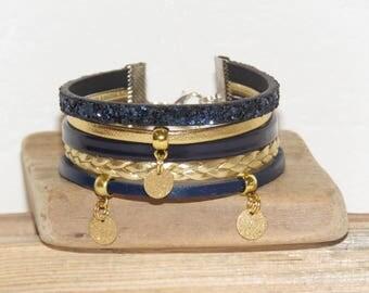 Navy Blue Cuff Bracelet, gold, leather, glitter, gold, round charms women bracelet, gift idea, pimprenellecreations