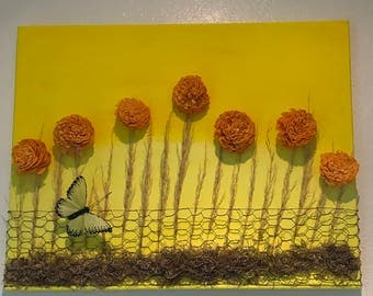 Cheerful and sunny flower field with chicken wire fence