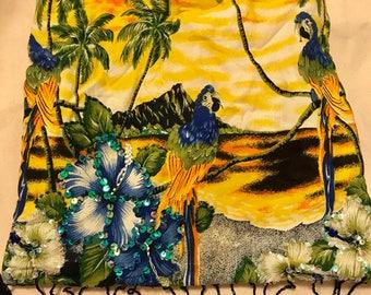 Retro Tiki Bird purse with beading and bamboo handles