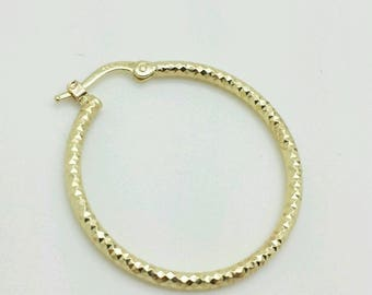 14k Yellow Gold Diamond Cut Tube Hoop Earrings 2mmx28mm