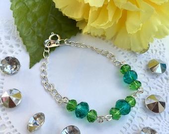 Blue and Green Crystal Bracelet