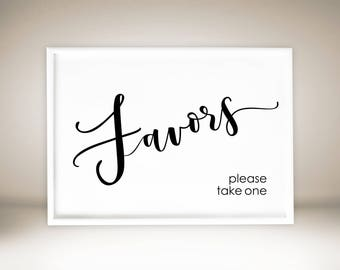 Printable Favors Sign, Wedding Favors Sign, Favors Please Take One, Chic Favors Sign, Elegant Favors Sign, Printable Wedding Sign, #C1