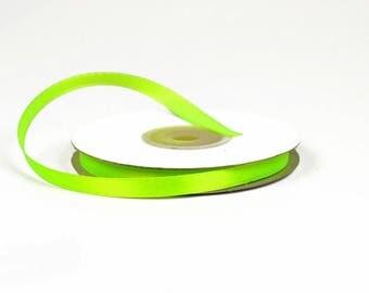 6 mm - ref 544 NEON green satin ribbon 25 m reel