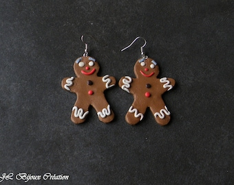 Mr gingerbread polymer clay earring