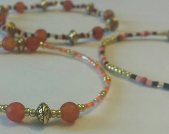 Bracelet set with glass beads and carnelian