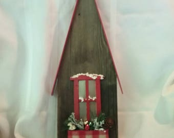 Decorated for Christmas barn Board