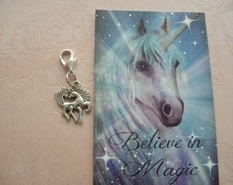 Magic Unicorn ~ Clip On Charm ~ Ready to Wear ~ Unicorn Wishes / Innocence and Beauty / Love / Purity / Gift / Birthday / Lucky Charm