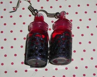 Earrings black and Red vials (bottles earrings)
