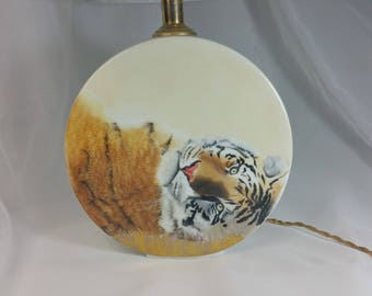 Limoges porcelain, entirely handpainted, with shade lamp