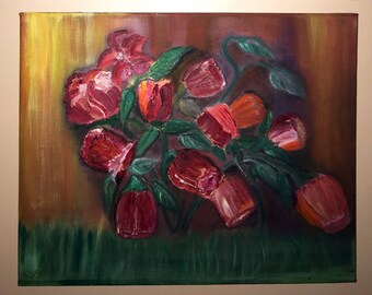 """Abstract Red Flower Oil Painting on 16"""" X 20"""" Canvas"""