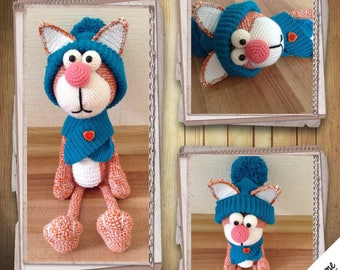 Knitted toy.knitted cat.cat amigurumi.cat crochet.soft toy cat.gift for children.handmade.cat in clothes.kitten.cat