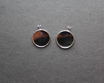2 support pendants silver Platinum cabochons 20 mm