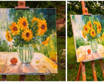 Sunflowers in vase, Yellow flowers painting, Original artwork, Floral wall art,Oil artwork,Sunflower still life,Gift for woman,Kitchen decor