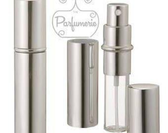 Set of 5: 12 ml. Silver SHINY METALLIC Sleek Spray Atomizer Perfume Cologne Refillable Travel Size Wholesale Bottle Empty