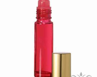 12 Red Glass Roll On Bottles with Gold Cap METALLIC Aromatherapy Essential Oil Perfume Cologne Lip Gloss Cosmetic - 10 ML