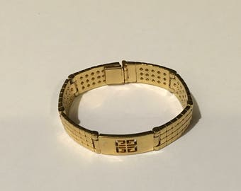 GIVENCHY Gold Tone Logo Chunky Statement Link Bracelet Signed Vintage Jewelry 7 1/2 inches Long