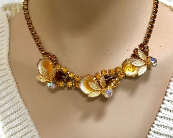 Rhinestone Necklace 1950s Choker Amber Topaz Floral Frosted Lucite Glass Vintage Bride Jewelry