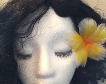 New:Yellow Feather Plumeria Earpick,Feather Plumeria Earpick,Flower Plumeria Earpick,Feather Flower Earpick,Plumeria Flower Earpick,Plumeria