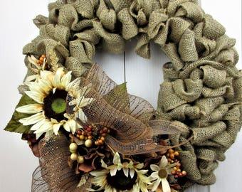 Burlap Front Door Wreath, Fall Front Door Wreath, Large Burlap Wreath, Cream Sunflowers, Fall Front Door Decor, Outside Decor, Gift For Mom