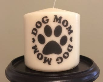 Dog Mom Candle, Paw Print, Proud Dog Owner, Gift, Short Pillar Candle
