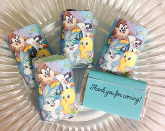50 Baby Looney Tunes personalized mini candy bar wrappers party favors gifts
