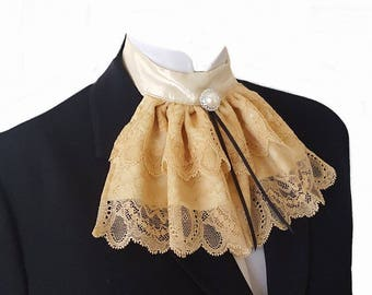 Gold Cream Lace Jabot Cravat Collar Pearl Button Steampunk Victorian Theatre Regency Burlesque Frockcoat