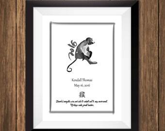 Custom Chinese Zodiac Art Print - Year of the Monkey