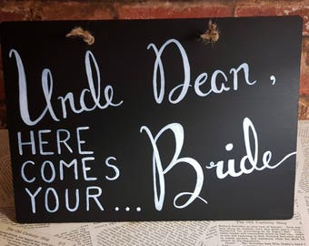Here comes your bride wedding sign | Page boy sign | Personalised sign | Pageboy sign | A4 chalkboard sign | Wedding Sign | Groom, Pageboy