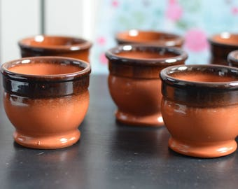 Gorgeous Set of 9 Vintage RETRO Brown Terracotta Ramekins