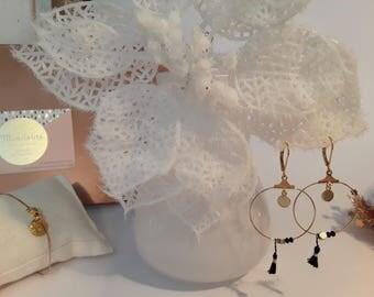 Earrings Creole pompom