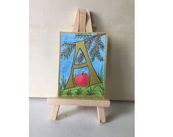 Initial Letter A, ACEO, ATC, art card