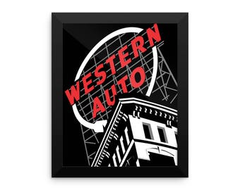 Western Auto Framed Print