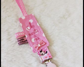 "Pacifier clip pink cotton ""My lollipop to me"" girl"