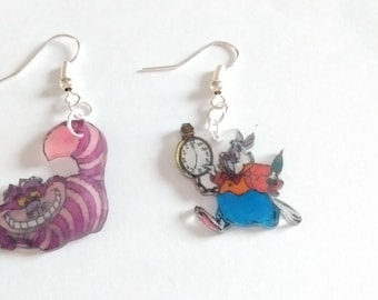 CAT and rabbit from Alice in the land of Wonderland earrings