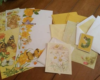 Vintage Stationery Collection ~ Large Yellow Butterflies and Flowers Collection