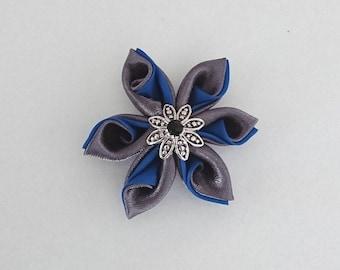 Anthracite grey satin kanzashi flowers / Royal Blue